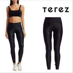 TEREZ-  Black Skull Foil Tall Band Leggings-SM